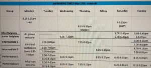 SASC Timetable from 17 May 2021