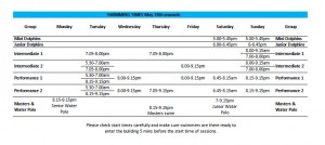 SASC Timetable from 31 May 2021
