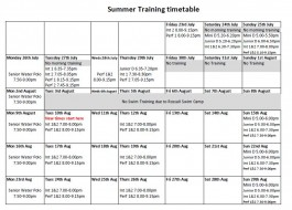 Timetable 23rd July onwards through August